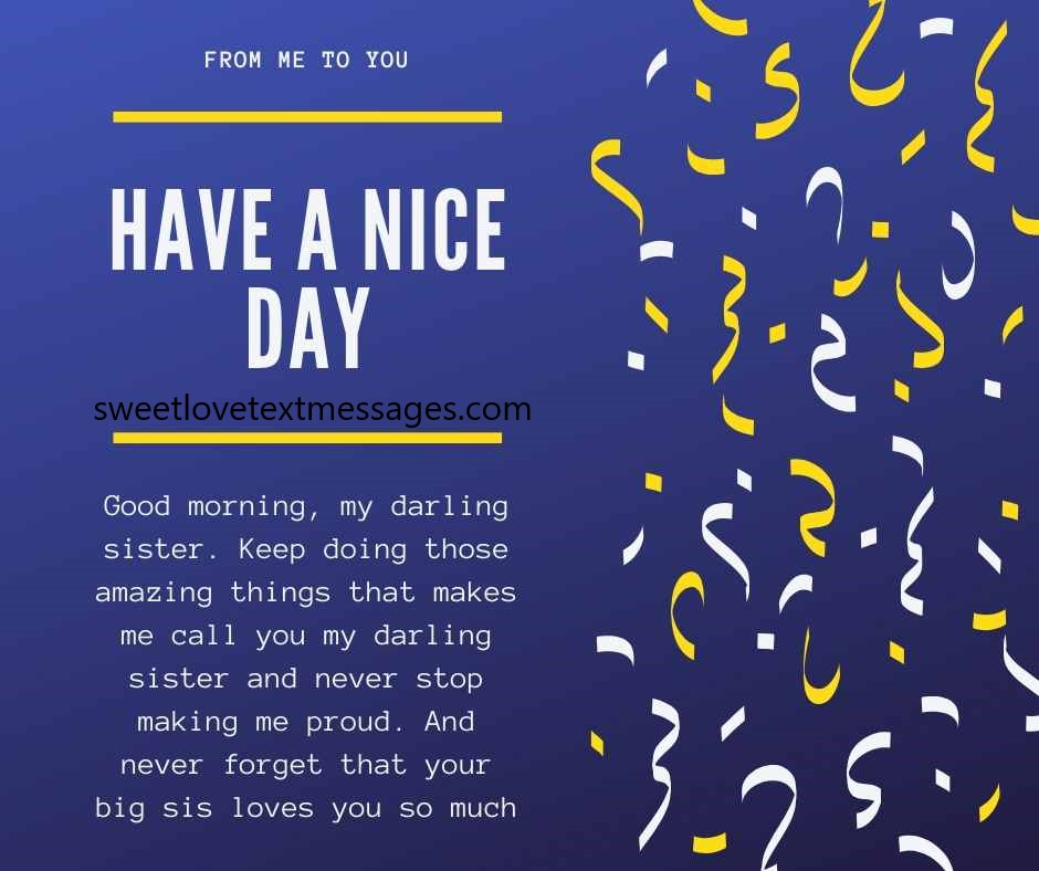 i love you good morning messages for sister